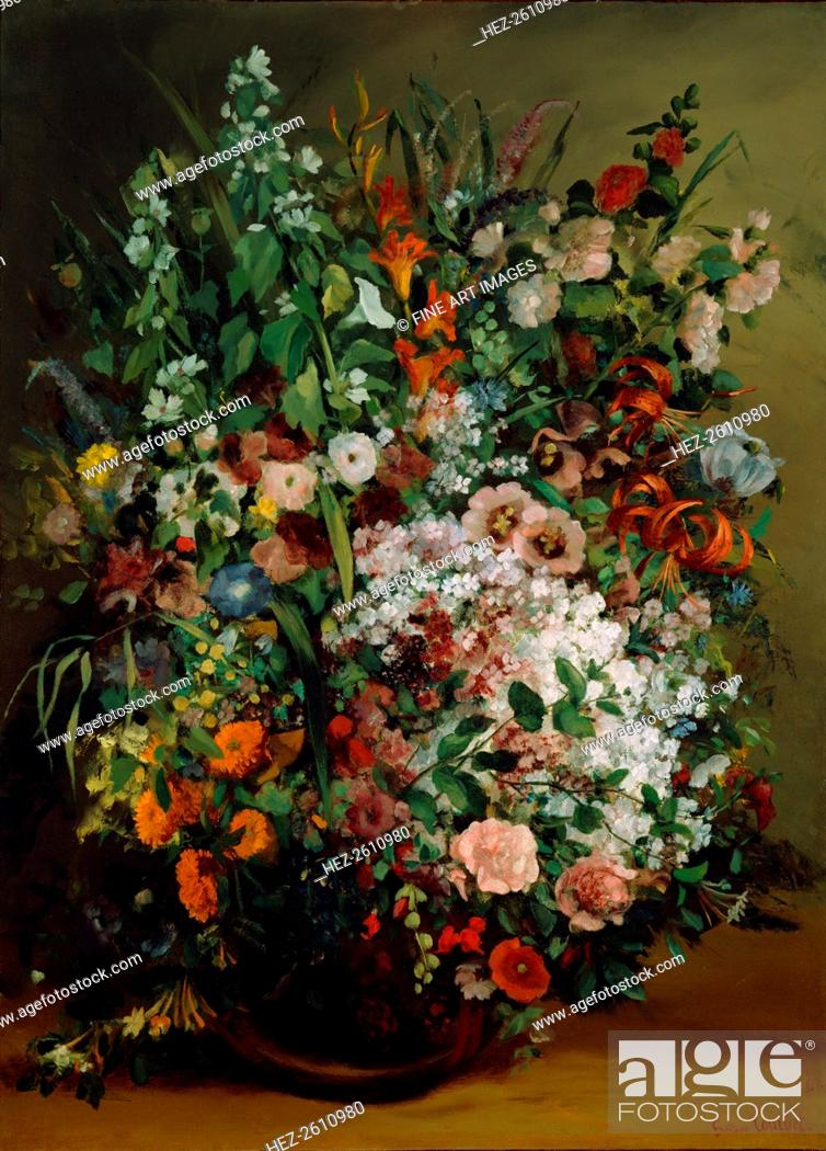 Bouquet Of Flowers In A Vase 1862 Artist Courbet Gustave 1819