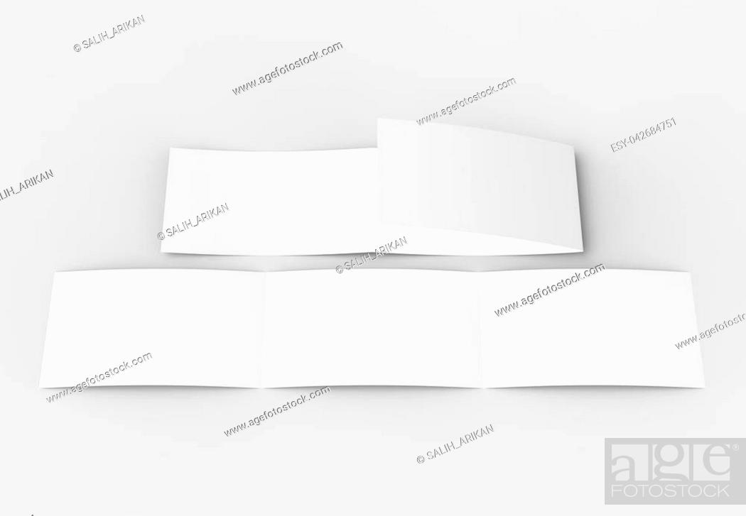 Stock Photo: Template of blank three fold, horizontal - landscape brochure mock up isolated on soft gray background. 3D illustrating.