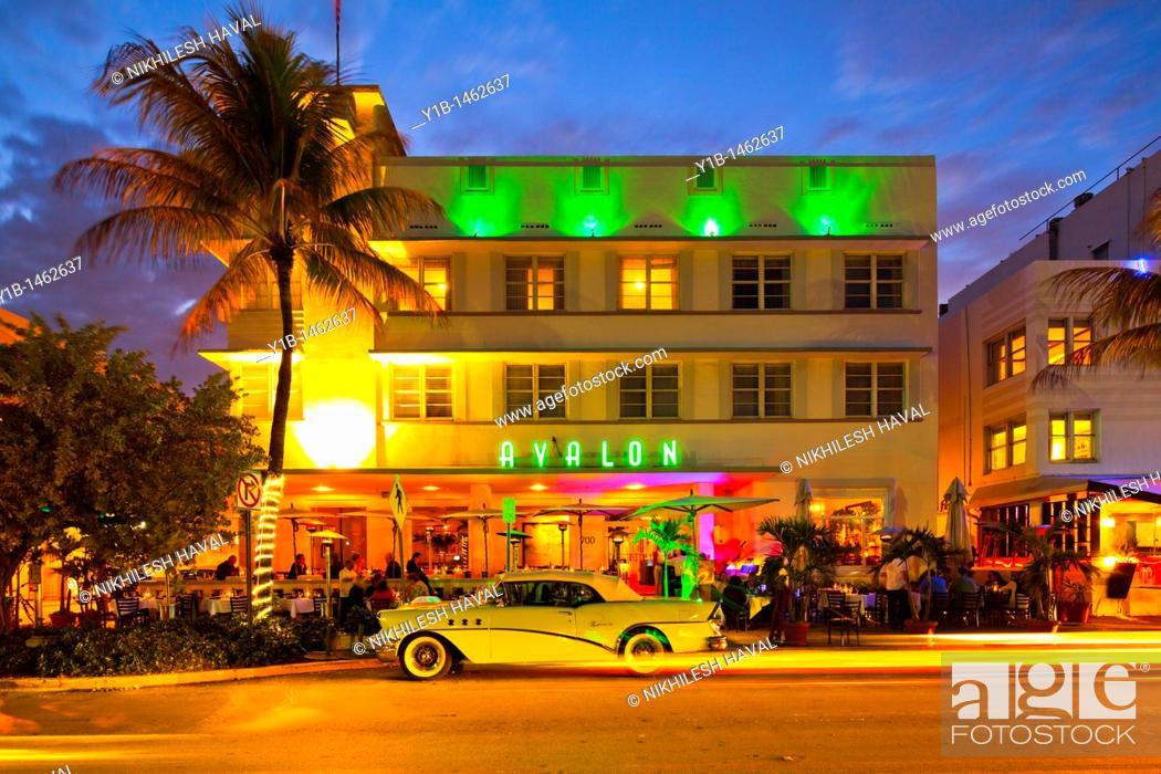 Stock Photo Avalon Hotel At Dusk South Beach Miami