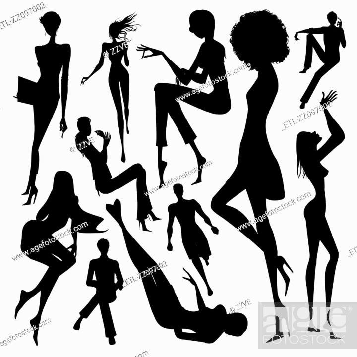 Stock Photo: Set of silhouette of the woman doing leisure activity isolated on white background.