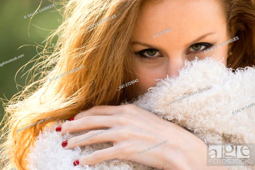 Stock Photo: Portrait of a young redhead woman in the forest, Alboy, Genoves, Valencia, Spain, Europe.