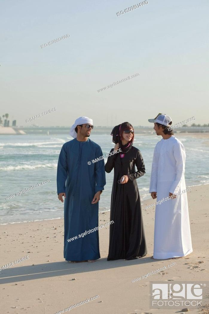 Stock Photo: Middle Eastern people on the beach.
