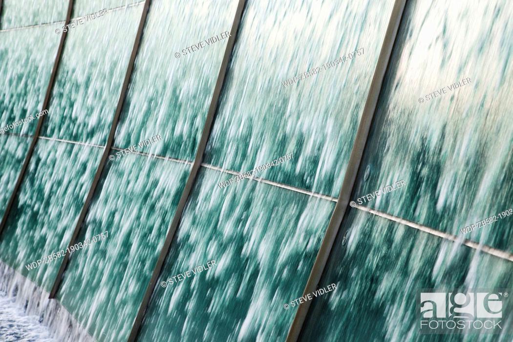 Stock Photo: Japan, Tokyo, Roppongi, Roppongi Hills, Cascading Waterfall Sculpture.
