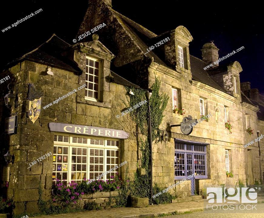 Stock Photo: Crêperie, Medieval Locronan, Brittany France.