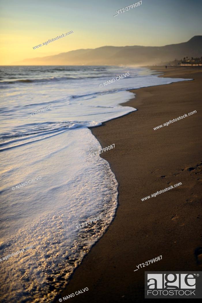 Stock Photo: Zuma beach in Malibu at sunset, California.