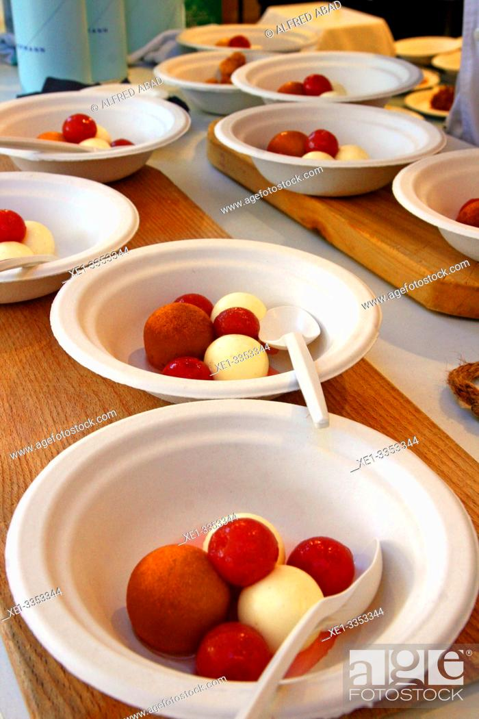 Stock Photo: dessert dishes of ice cream balls, gastronomic festival 'Tast a la Rambla', 6th Gastronomy Week of Barcelona, Catalonia, Spain.