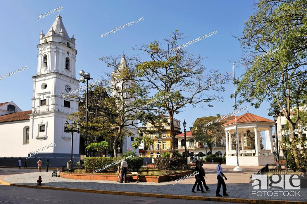 Stock Photo: Cathedral on the Plaza de la Independencia, Casco Antiguo the historic district of Panama City, Republic of Panama, Central America.