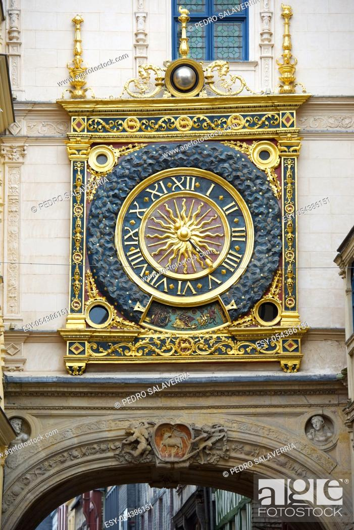 Stock Photo: Clock, named as Gros Horloge, in Rouen, Normandy, France.