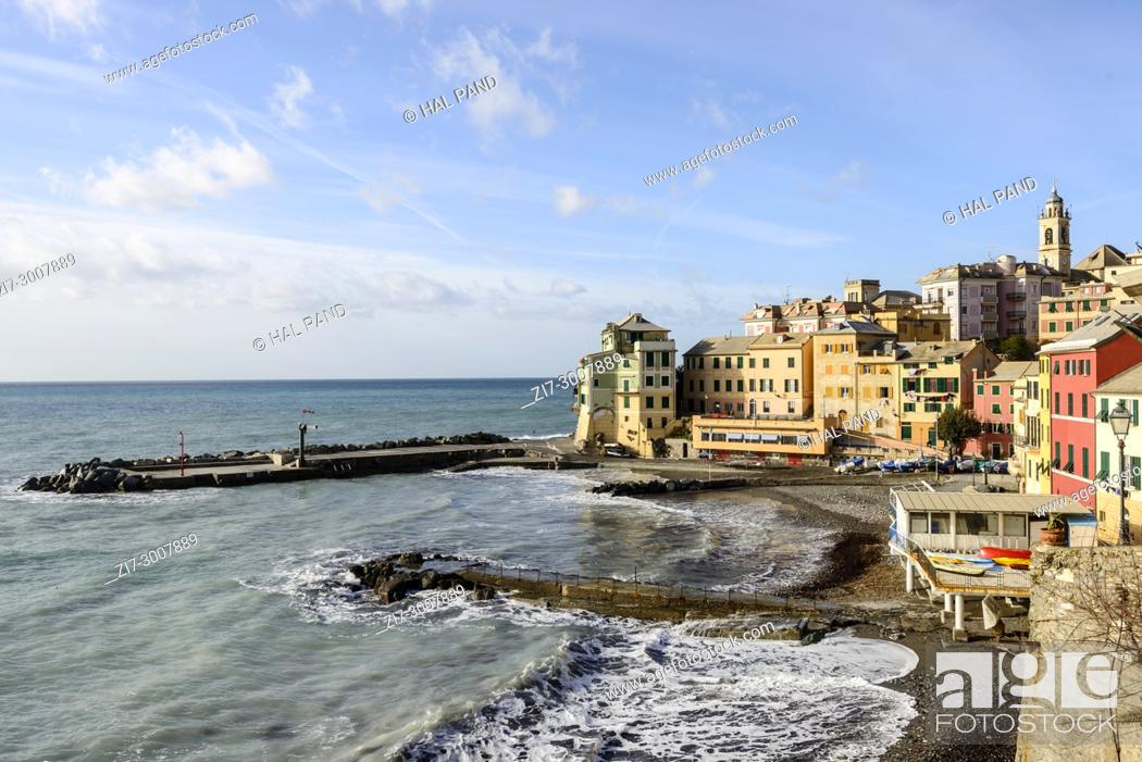 Stock Photo: cityscape of historical traditional houses around little gulf, shot on a sunny winter day at Bogliasco, Genova, Italy.