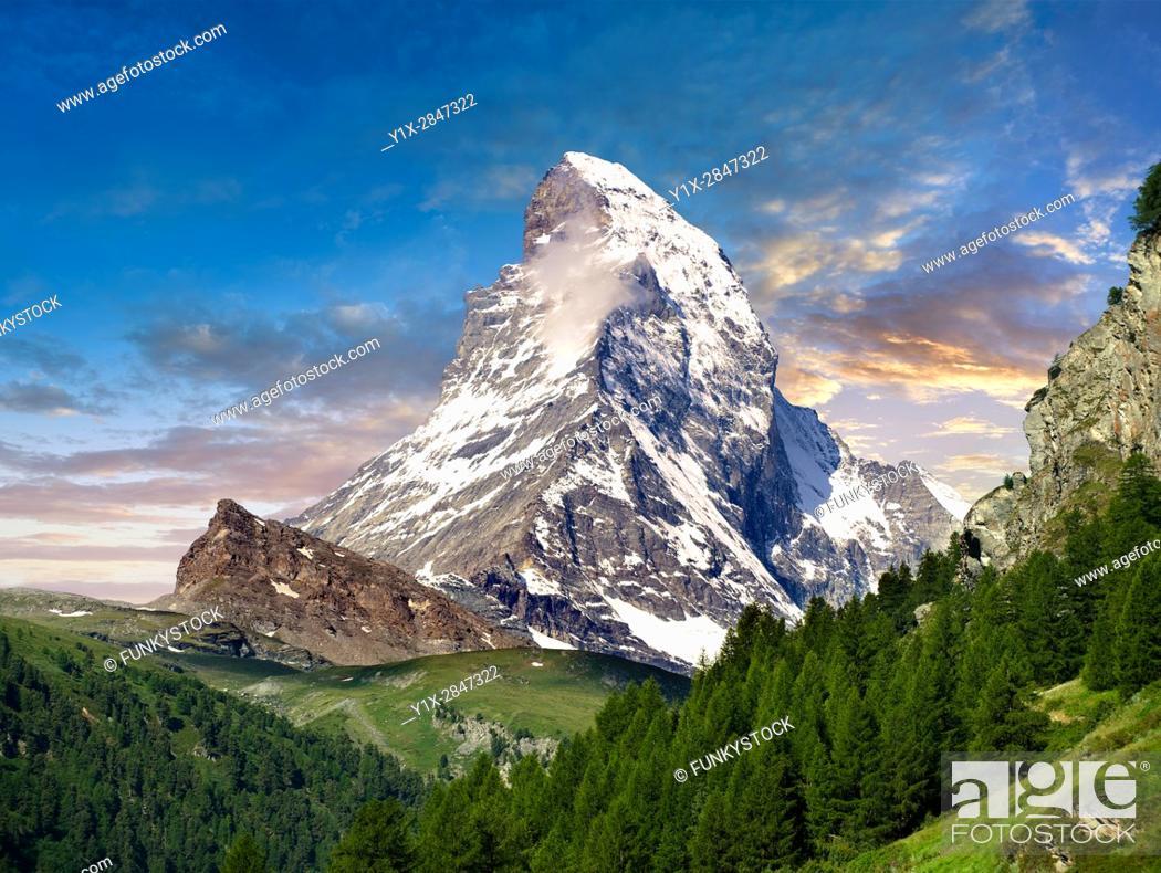 Imagen: The Matterhorn or Monte Cervino mountain peak, Zermatt, Switzerland.