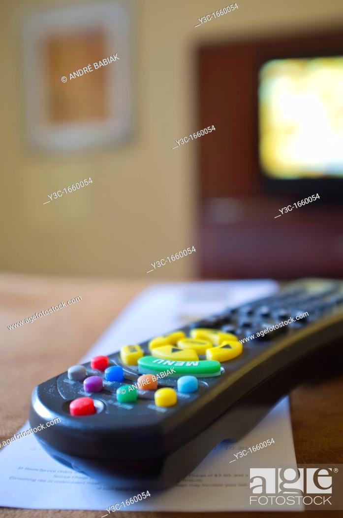 Stock Photo: Hotel Room TV Remote.