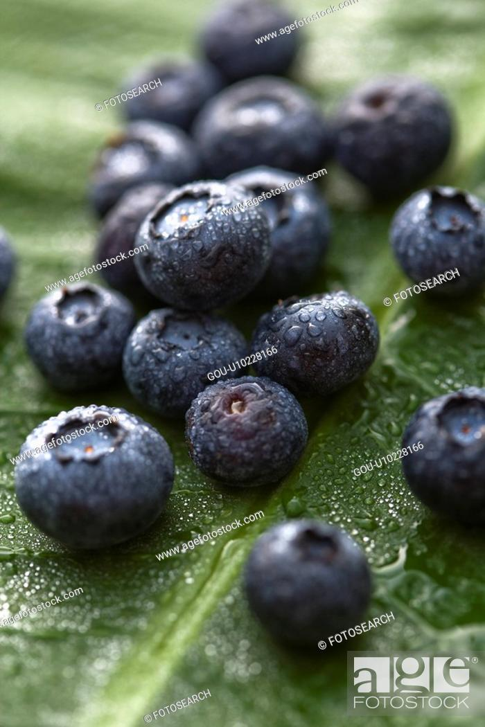 Stock Photo: Group of blueberries on banana leaf.
