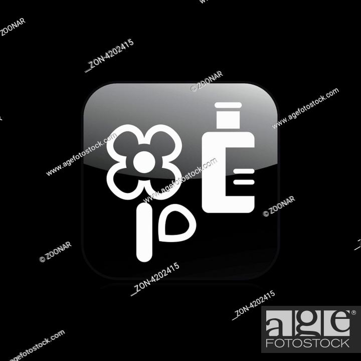 Stock Photo: Vector illustration of single isolated flower bottle icon.