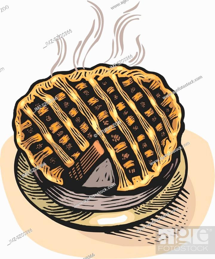 Stock Photo: Cartoon drawing of a freshly baked pie.
