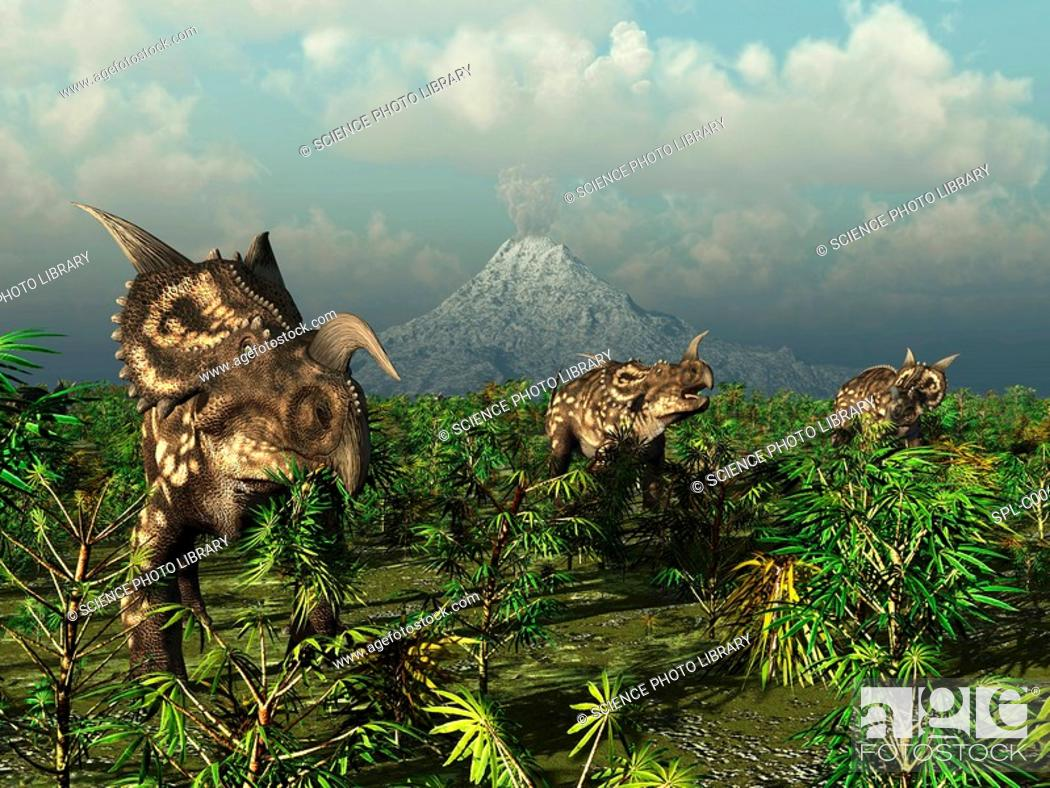 Stock Photo: Einiosaurus dinosaurs. Computer artwork of a herd of plant-eating Einiosaurus roaming the plains in what is now the Two Medicine Formation in northwestern.