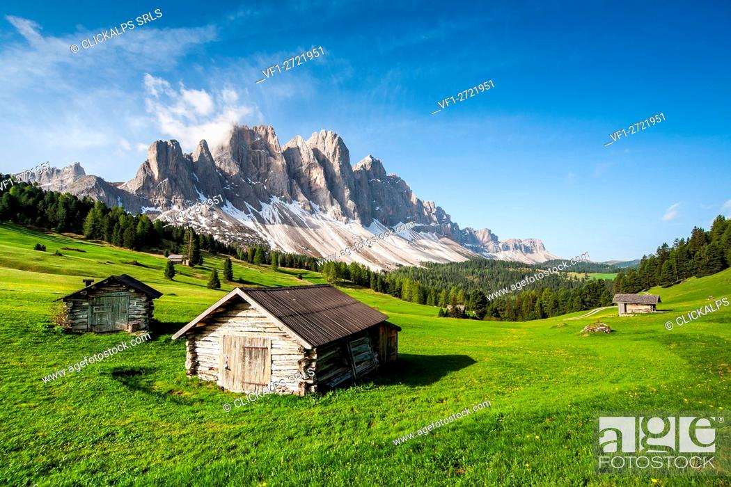 Stock Photo: View of the Odle from Malga Caseril. Puez Natural Park. Funes Valley Dolomites. Trentino Alto Adige. Italy Europe.