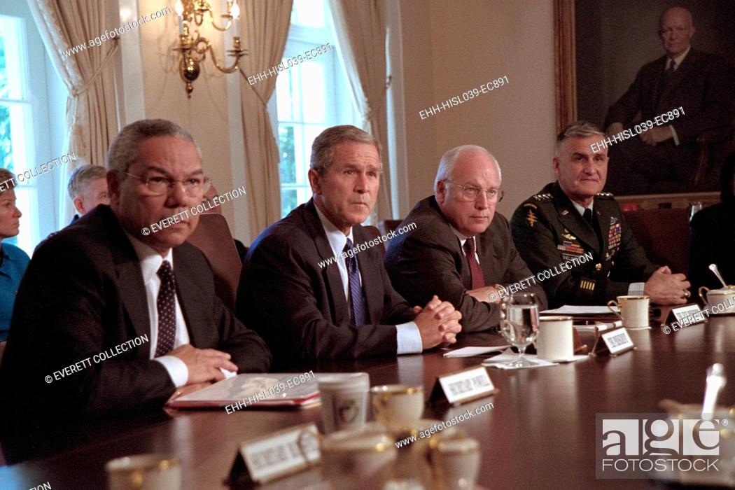 Stock Photo: National Security Council on Sept 12, 2001, the day following the 9-11 Terrorist Attacks. L-R: Colin Powell, Secretary of State; President Bush.