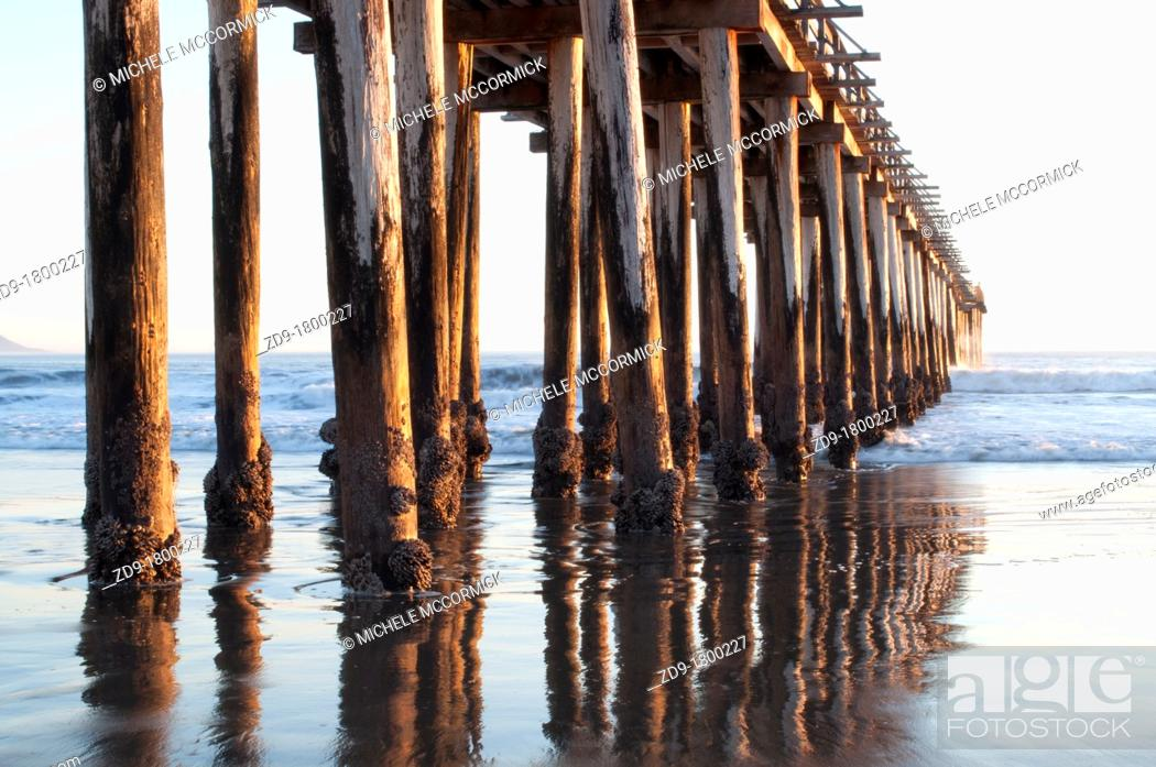 Stock Photo: Cayucos pier pilings are reflected in the sandy water as the ocean waves come in.