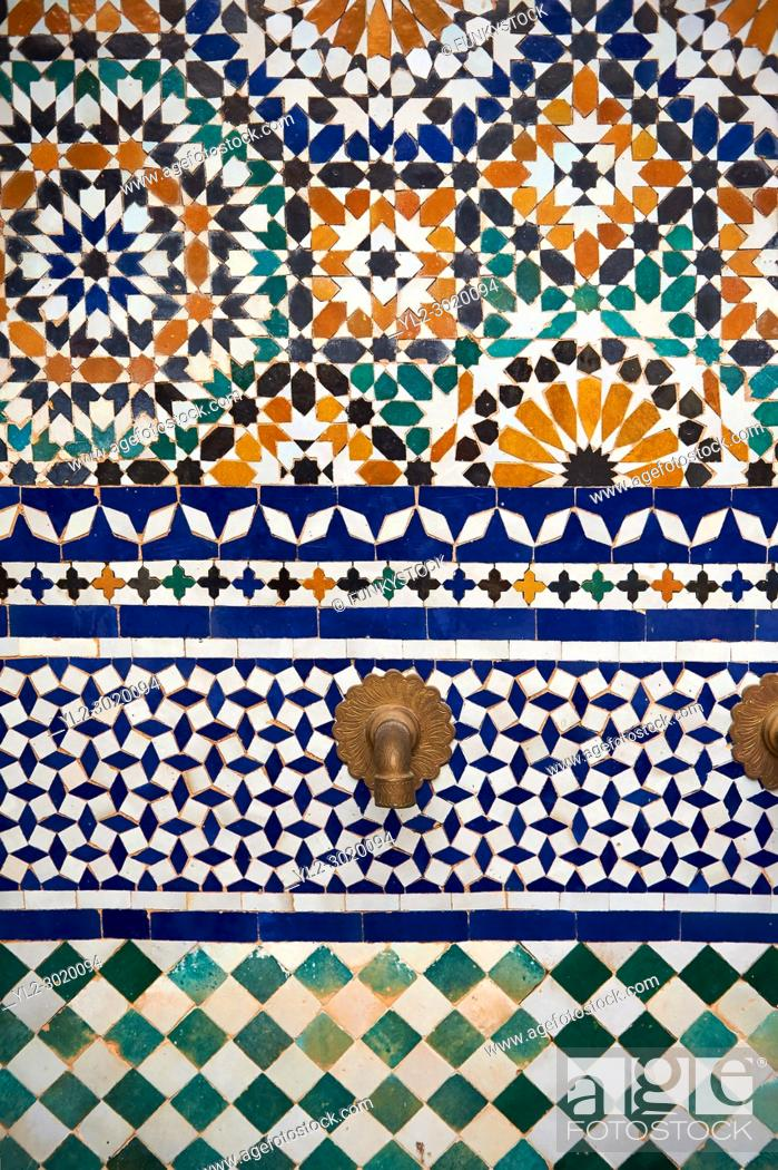 Stock Photo: Berber Arabesque Zellige tiles of the Marrakesh museum in the Dar Menebhi Palace, Marrakesh, Morocco.