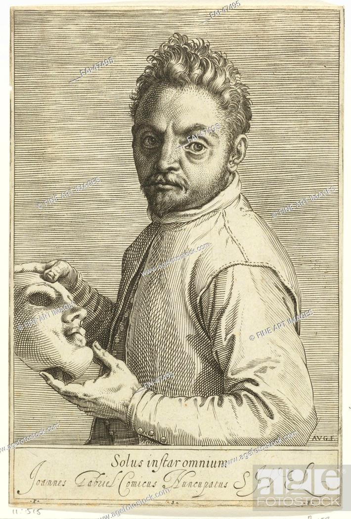 Stock Photo: Portrait of the Composer Giovanni Gabrieli (1557-1612) by Carracci, Agostino (1557-1602)/Etching/Mannerism/c. 1599/Italy.