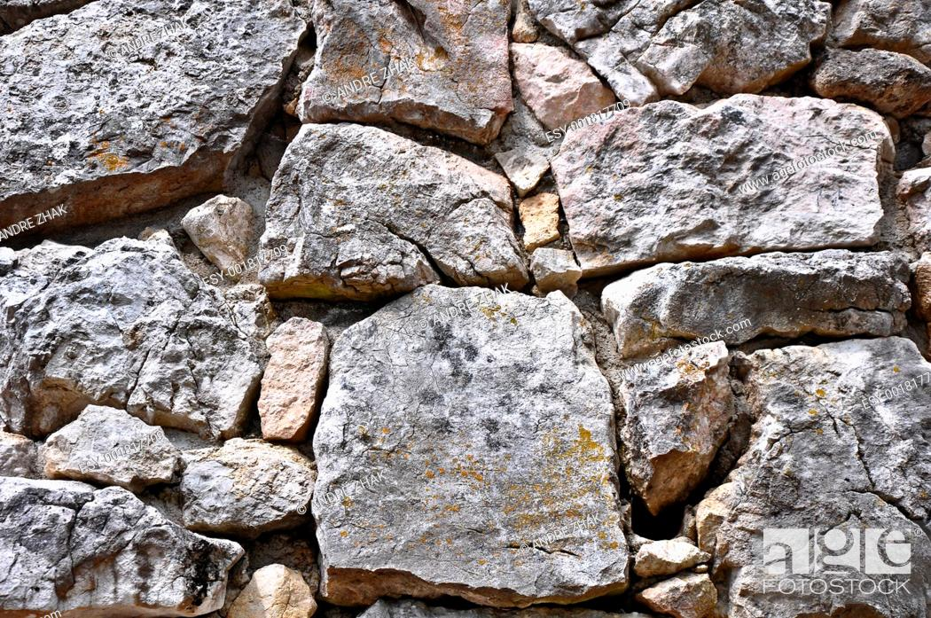 Stock Photo: close up texture of grey stone with cracks.