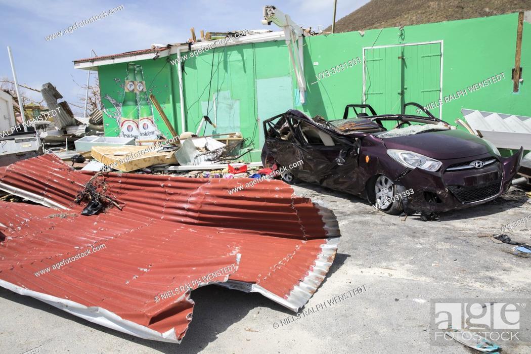 Stock Photo: SAINT MARTIN - The Dutch part of Saint Martin (Sint-Maarten) a few days after the hurricane Irma.