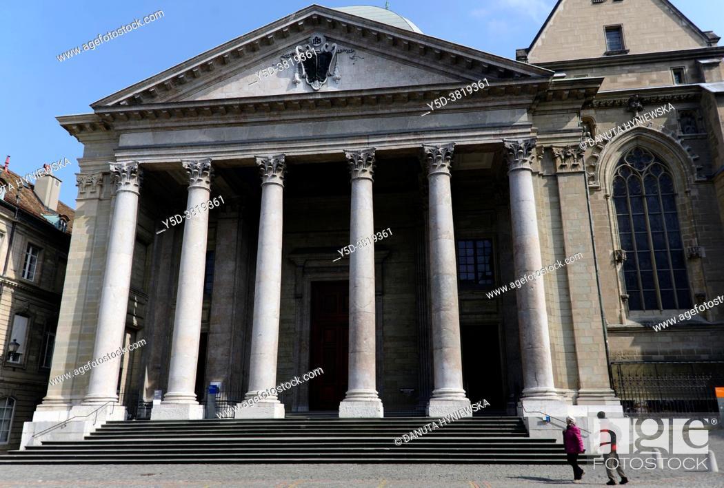 Stock Photo: Protestant St Pierre Cathedral, home church of John Calvin, Geneva, Cour de Saint-Pierre, Switzerland, Europe.