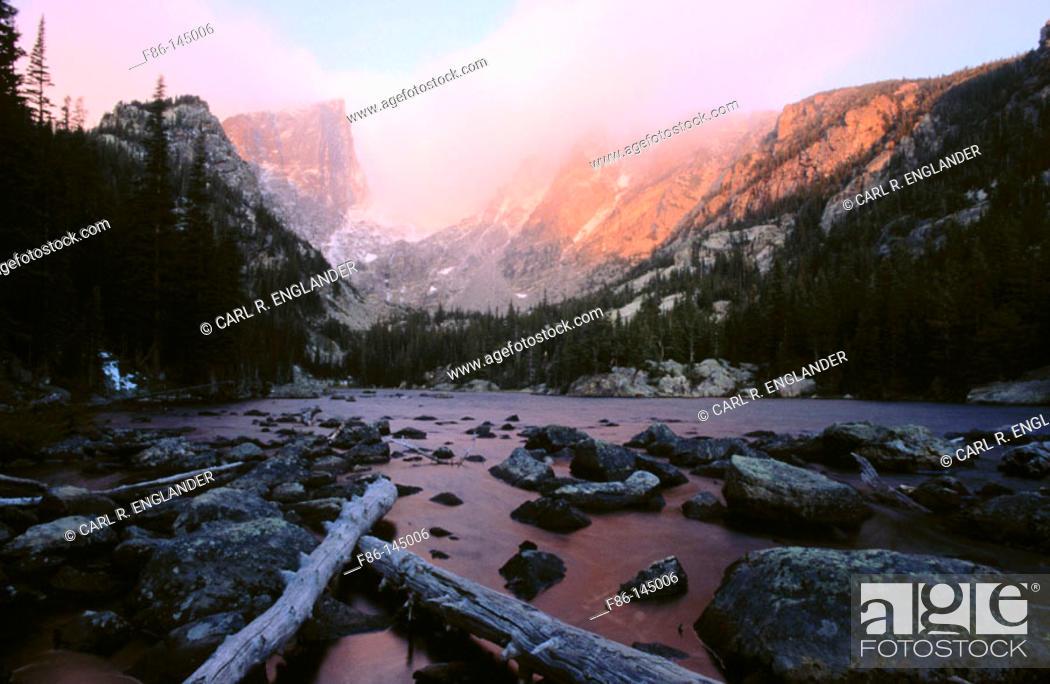 Stock Photo: Hallett Peak, Flattop Mountain, and Dream Lake. Rocky Mountain National Park. Colorado. USA.