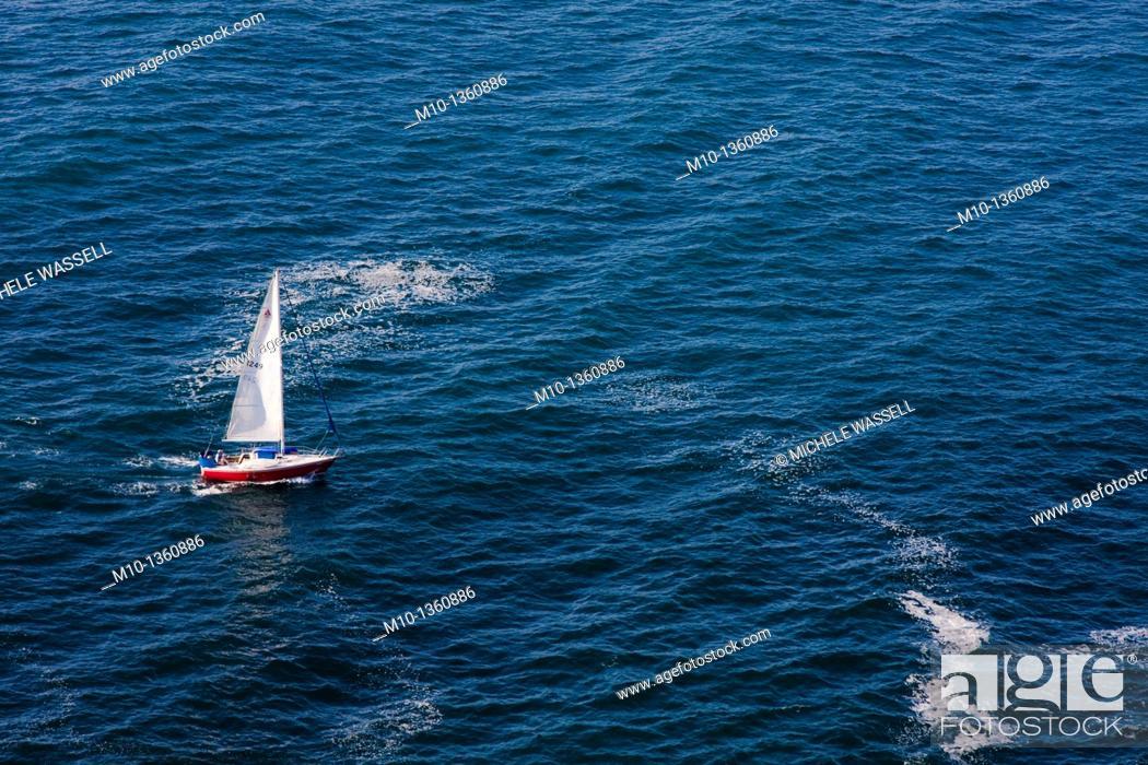 Stock Photo: People sailing along Santa Cruz Island.