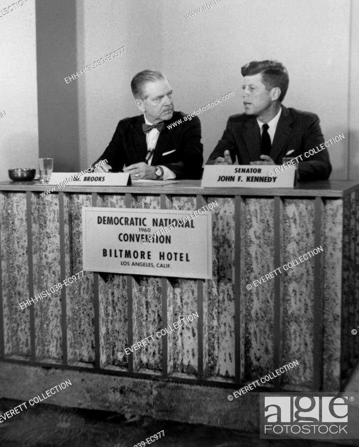 Stock Photo: Senator John F. Kennedy on television show MEET THE PRESS. He was interviewed by Ned Brooks during the Democratic National Convention in Los Angeles, July 11-17.