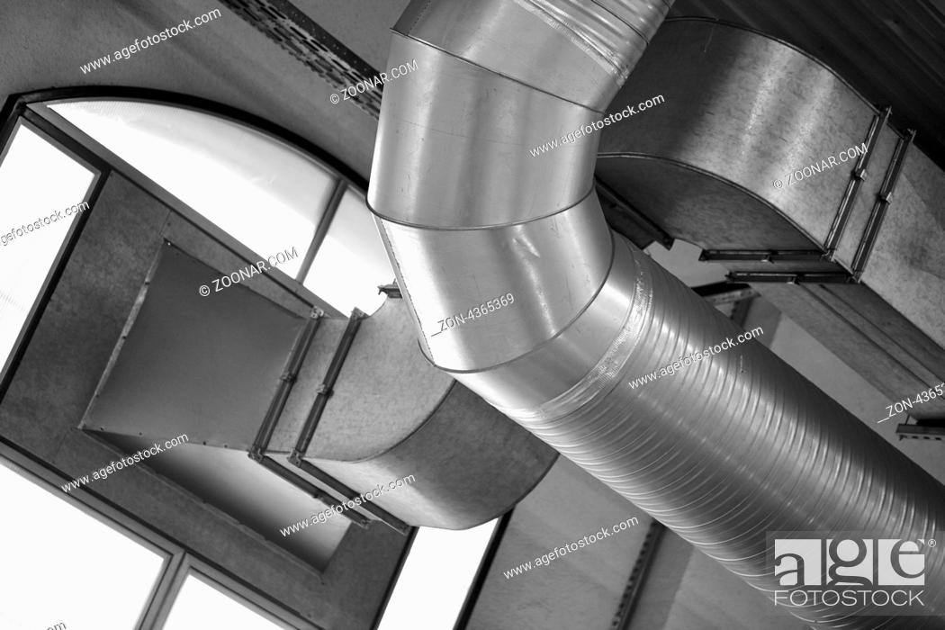 Stock Photo: Pipelines at factory - interior instalation.