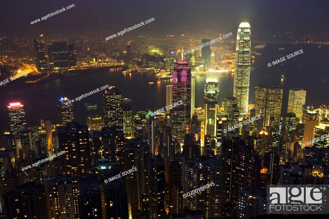 Stock Photo: Hong kong cityscape at night.