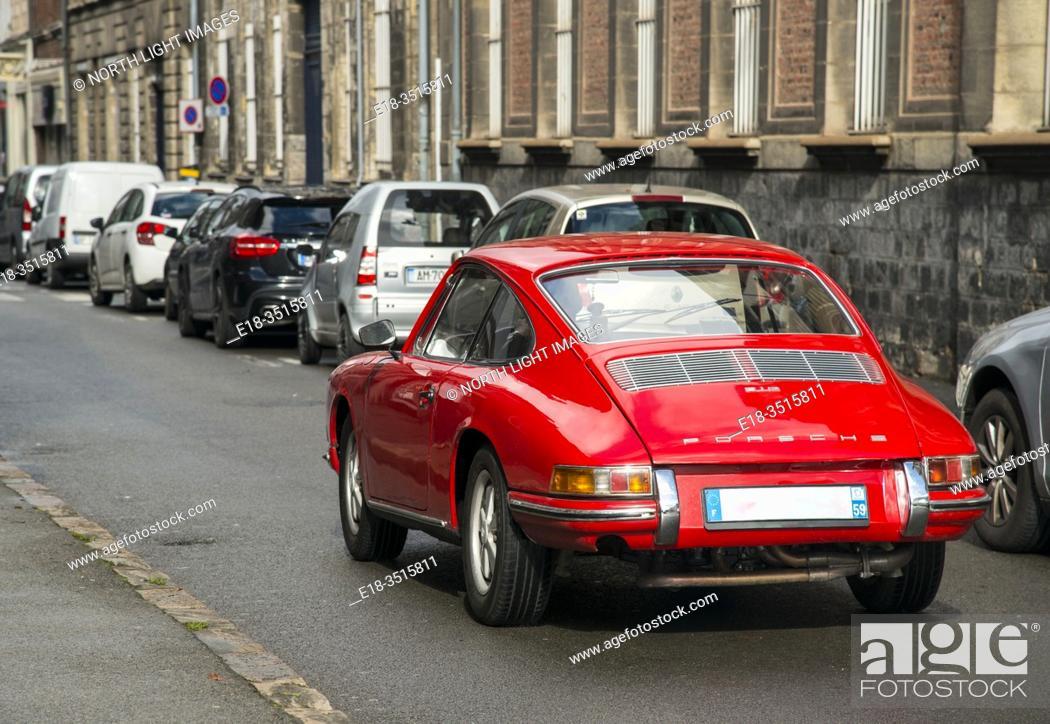 Stock Photo: France, Arras. Vintage Porsche sportscar.