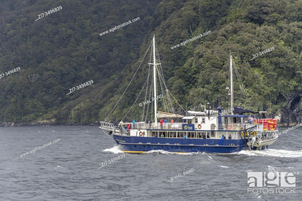 Imagen: MILFORD SOUND, NEW ZEALAND - November 21 2019: passenger vessel sails green inhabited fjord, shot in bright cloudy light on november 21 2019 at Milford Sound.