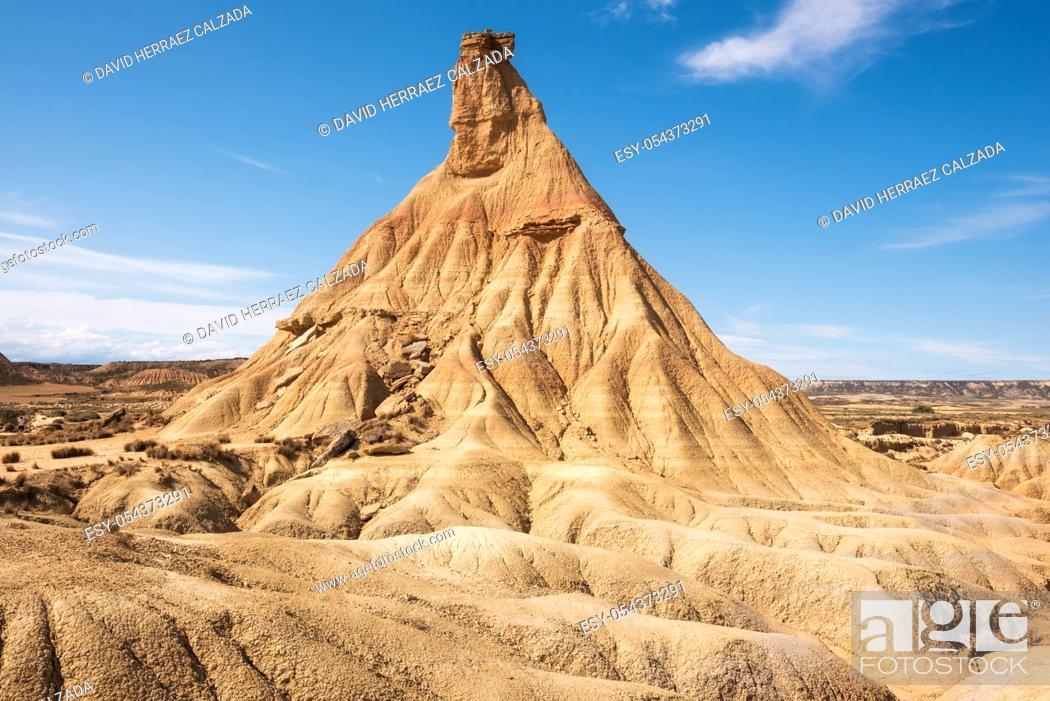Stock Photo: Desertic landscape in Bardenas Reales of Navarra, Spain .