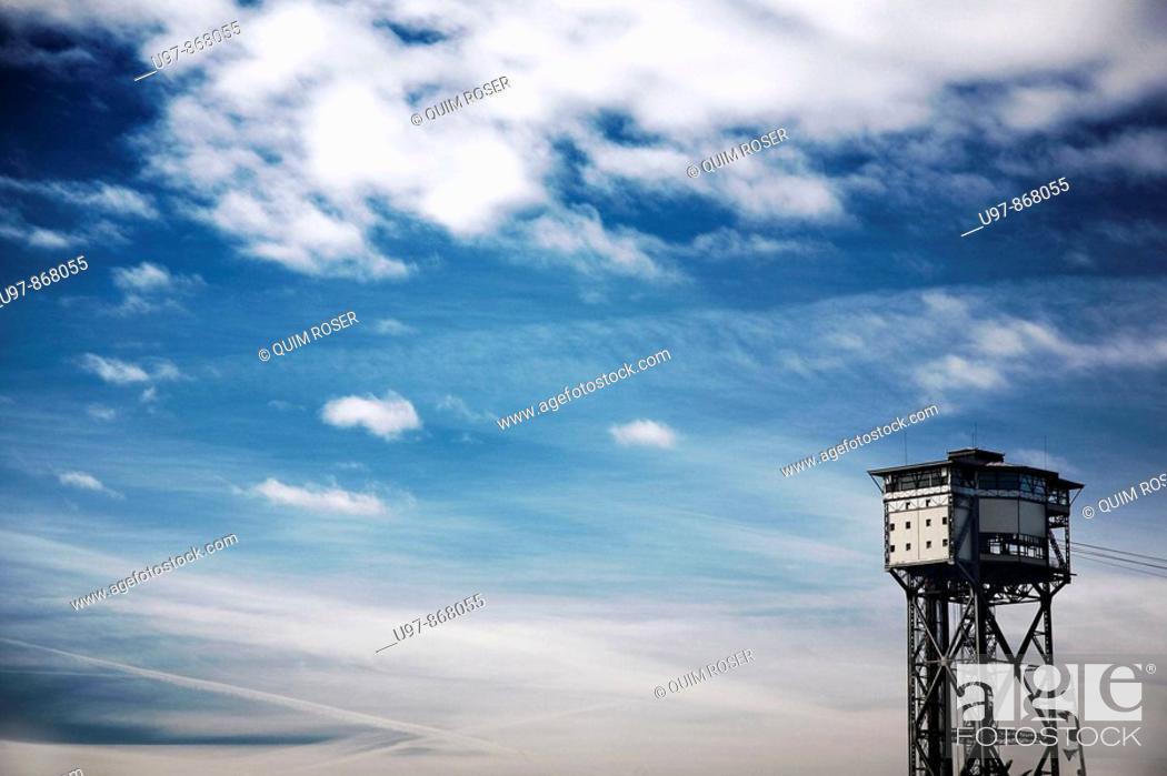 Stock Photo: Torre de alta mar, Barceloneta's Beach, Barcelona, Catalonia, Spain.