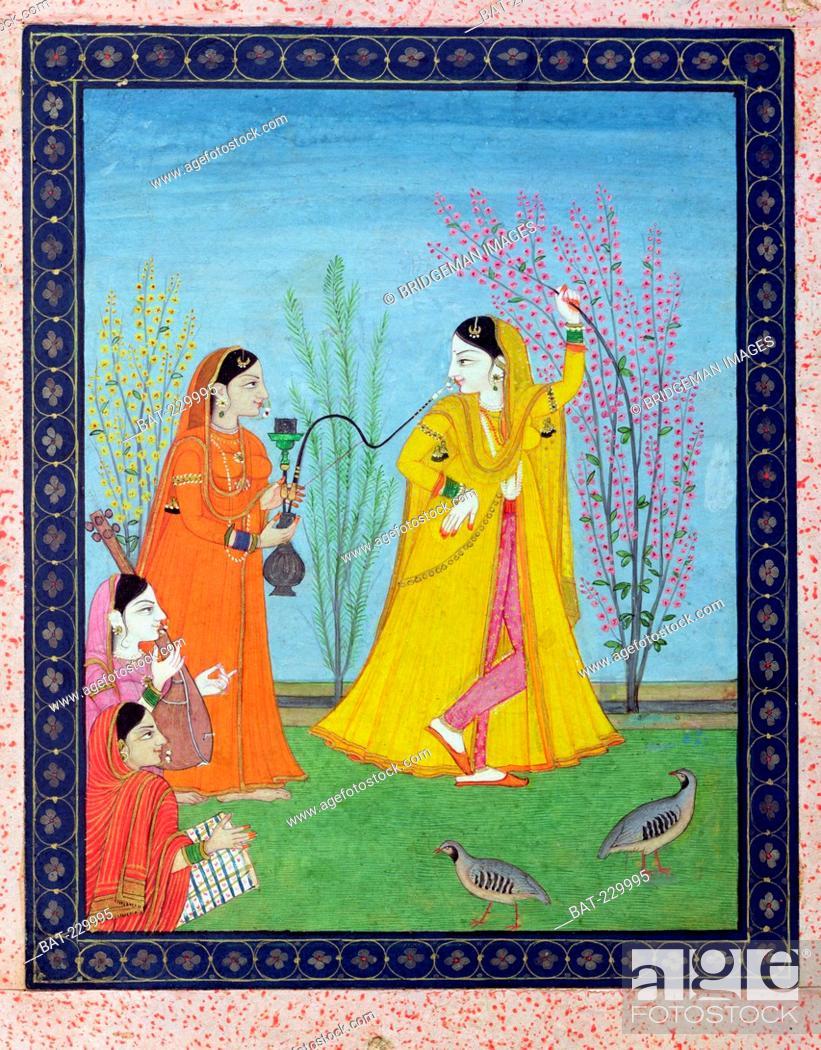 Stock Photo: The Beginning of Spring, from Chamba, Himachal Pradesh, c.1800 (gouache on paper), Pahari School (19th Century) / Musee Guimet, Paris, France / Bridgeman Images.