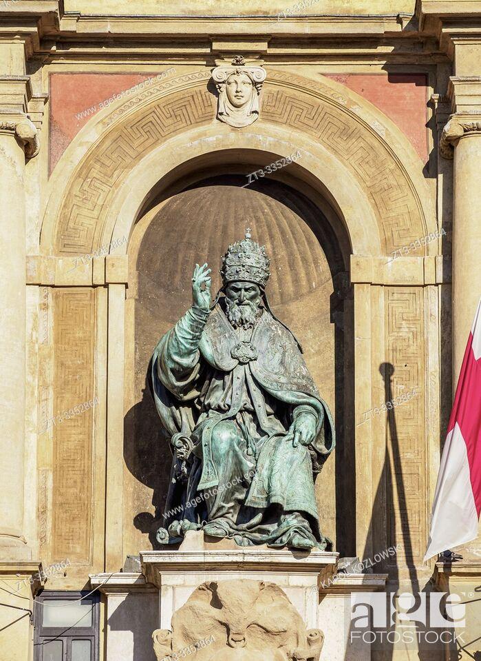 Stock Photo: Palazzo d'Accursio, detailed view, Piazza Maggiore, Bologna, Emilia-Romagna, Italy.