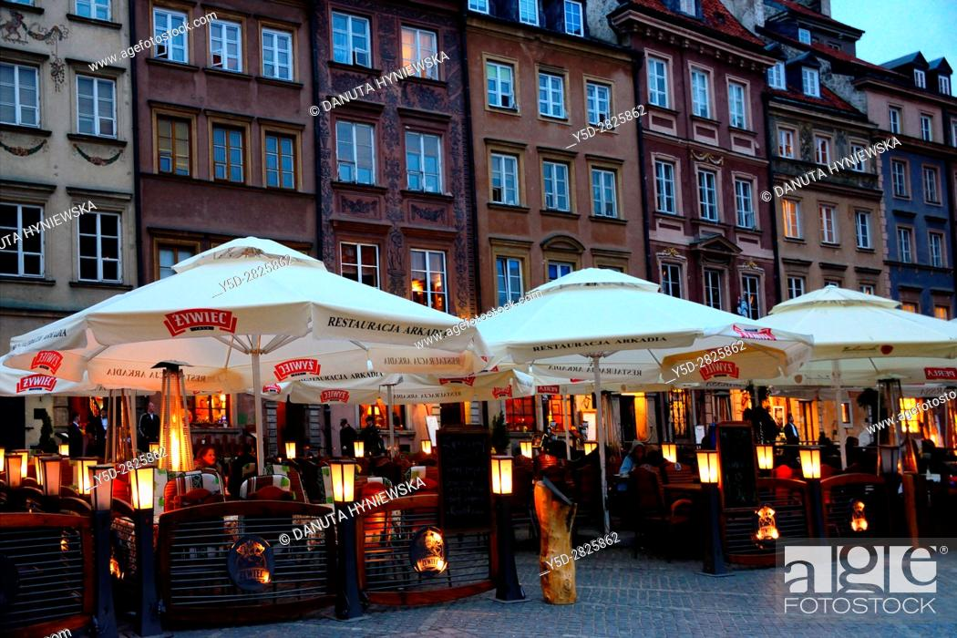 Photo de stock: Facades of historic townhouses, Old Town Market Place - Barssa side, UNESCO World Heritage Site, Warsaw, Poland, Europe.