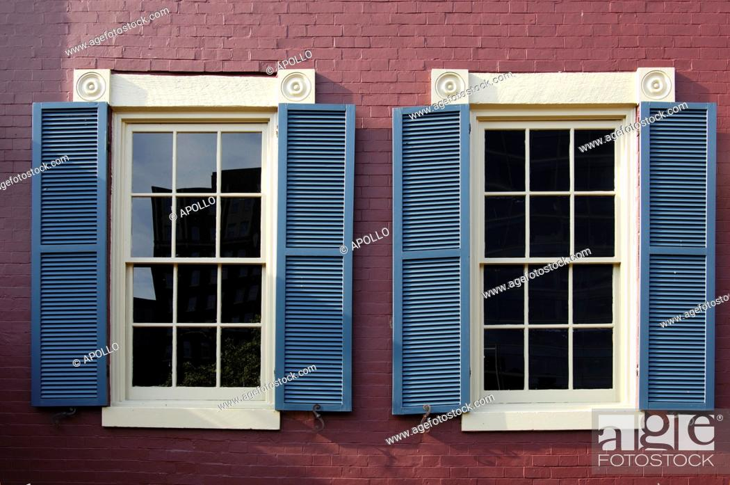 Stock Photo: Windows of a historical brick house in the Red Lion Row, historic row houses from the 19th century in Foggy Bottom, Washington, D C , USA.