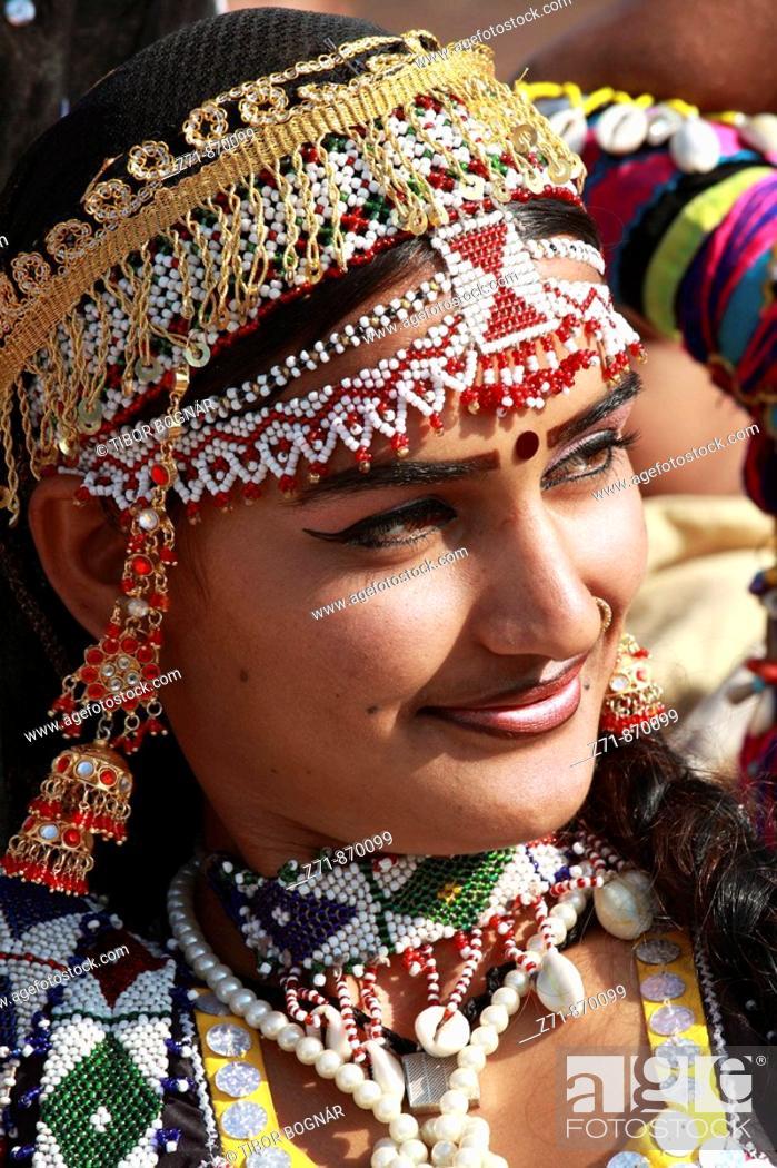 Stock Photo: India, Rajasthan, Jaisalmer, Desert Festival, rajasthani woman portrait.