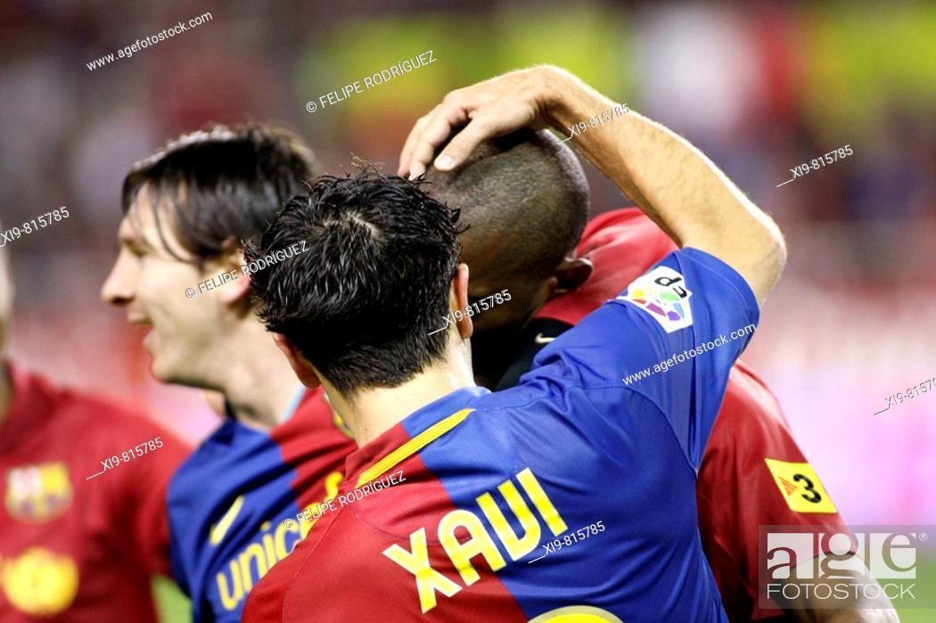 4f0e750c816 Stock Photo - Spanish League 2008-09 (november 29, 2008): Sevilla FC vs. FC  Barcelona. Estadio Ramón Sánchez Pizjuán. Samuel Eto'o, Leo Messi and Xavi  ...