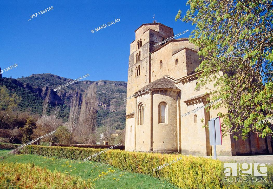 Stock Photo: Romanesque church. Santa Cruz de la Serós, Huesca province, Aragón, Spain.