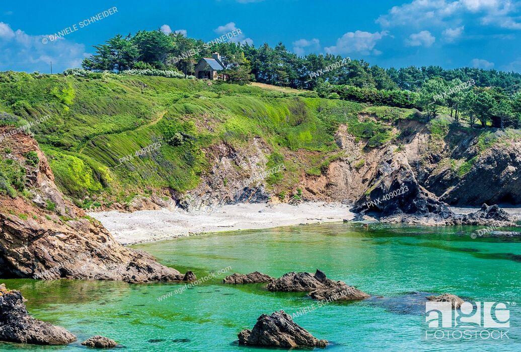 Imagen: France, Brittany, Crozon Peninsula, Telgruc sur Mer, coastal path GR34 between l'Ile de l'Aber and Trez-Bellec beach.