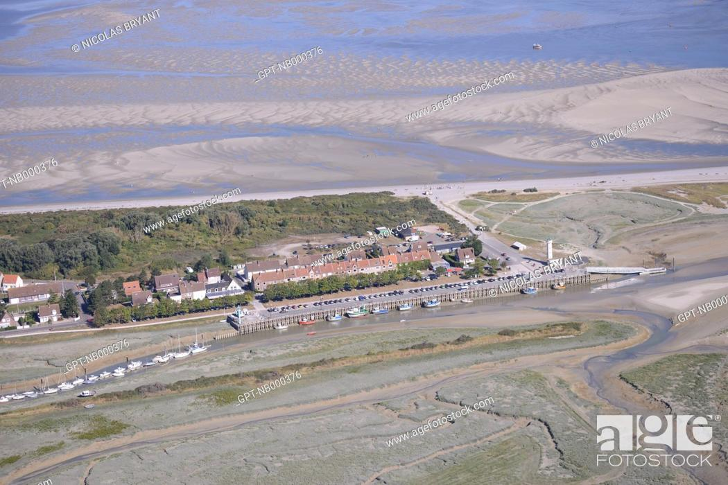 Stock Photo: AERIAL VIEW, LE HOURDEL, CAYEUX-SUR-MER, BAY OF SOMME, SOMME, PICARDY, FRANCE.