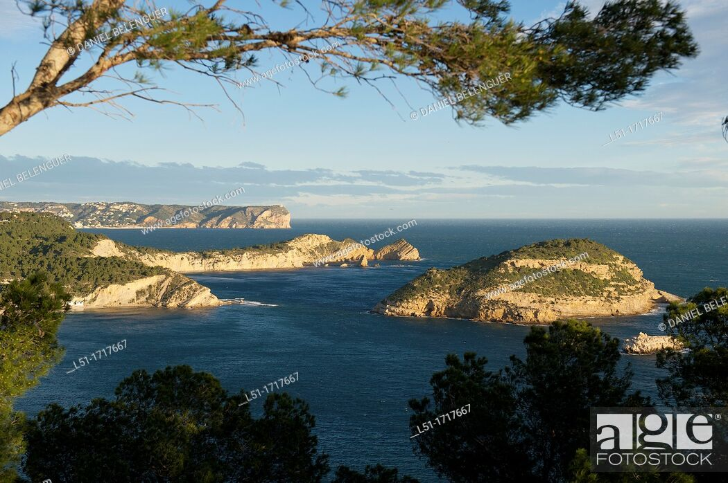Stock Photo: Coastline of North Alicante, Portixol island and Nao cape, Jave, Alicante, Spain.