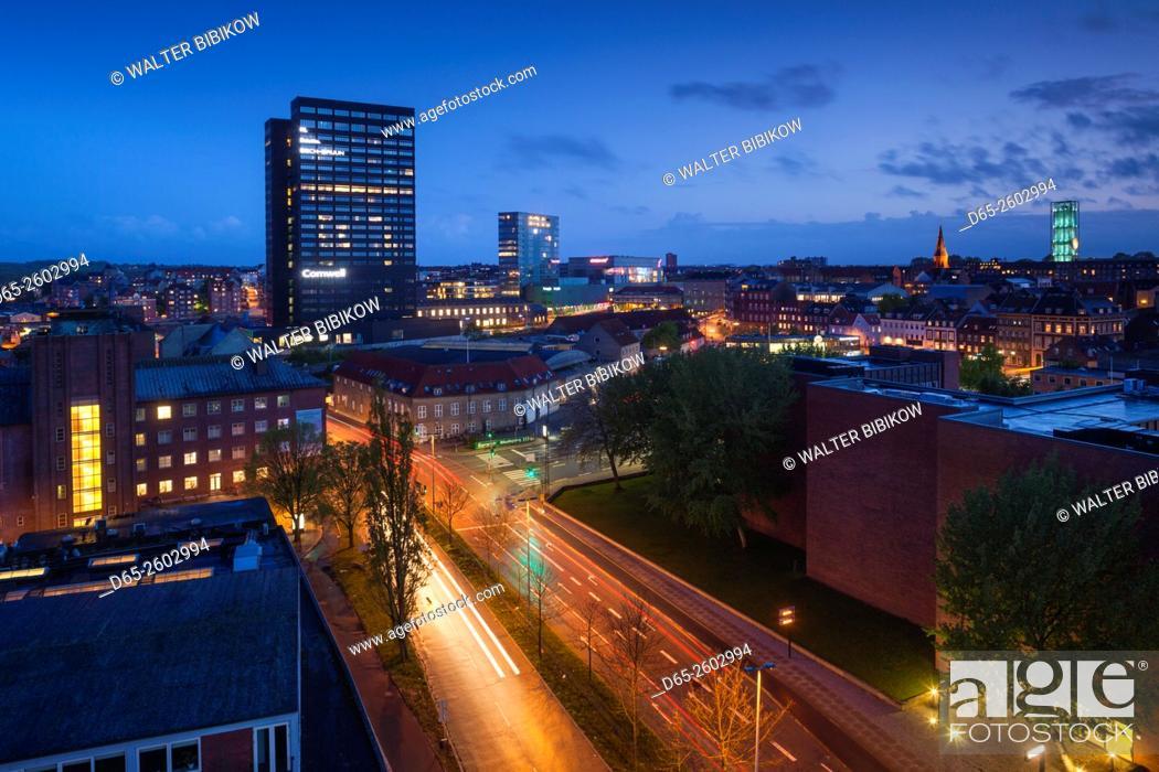 Stock Photo: Denmark, Jutland, Aarhus, elevated city view above Spanien Street, evening.