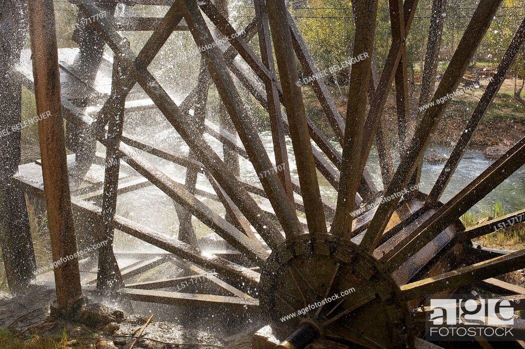 Stock Photo: old waterheel , Cabriel river, Hoces del cabriel Nature reserve, Casas del Rio, Valencia, Spain.
