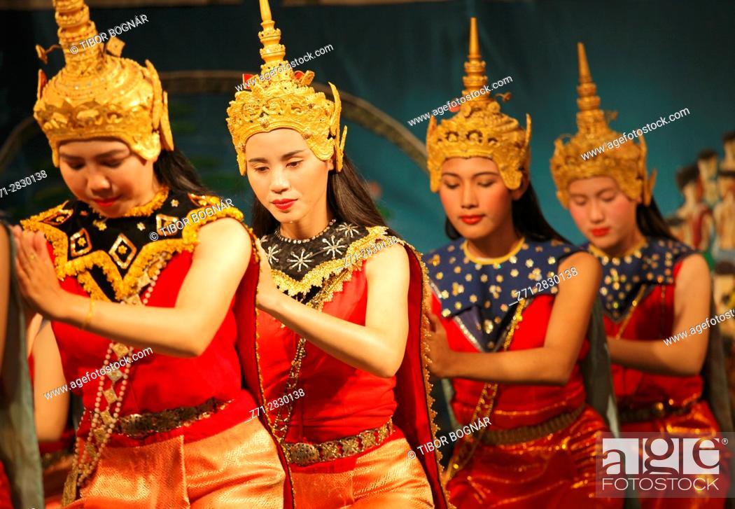 Stock Photo: Laos, Luang Prabang, classical dance, dancers,.