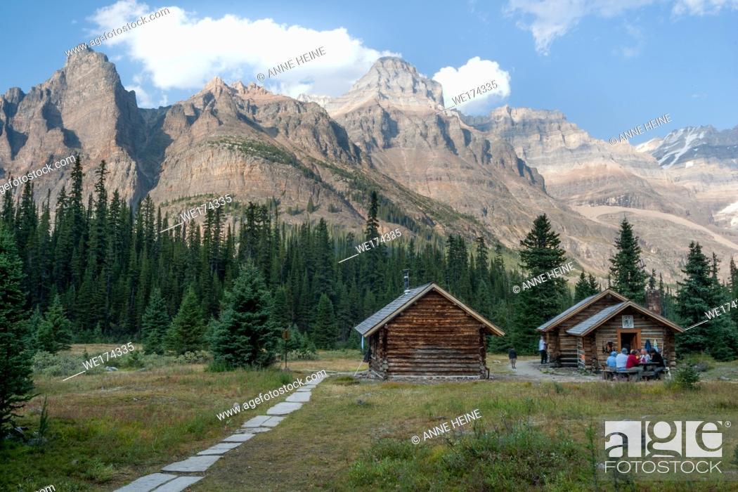 Stock Photo: Alpine huts in Canadian Rockies, in the Lake O`Hara area, Yoho National Park.